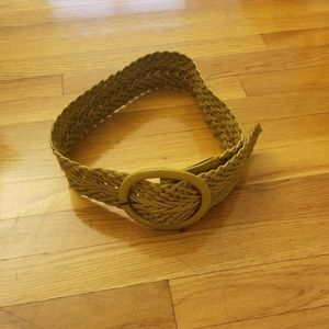 Accessories - Yellow Leather Woven Belt